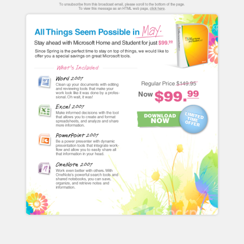 MS Office Home & Student Email Campaign