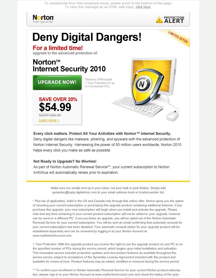 Norton Email Campaign