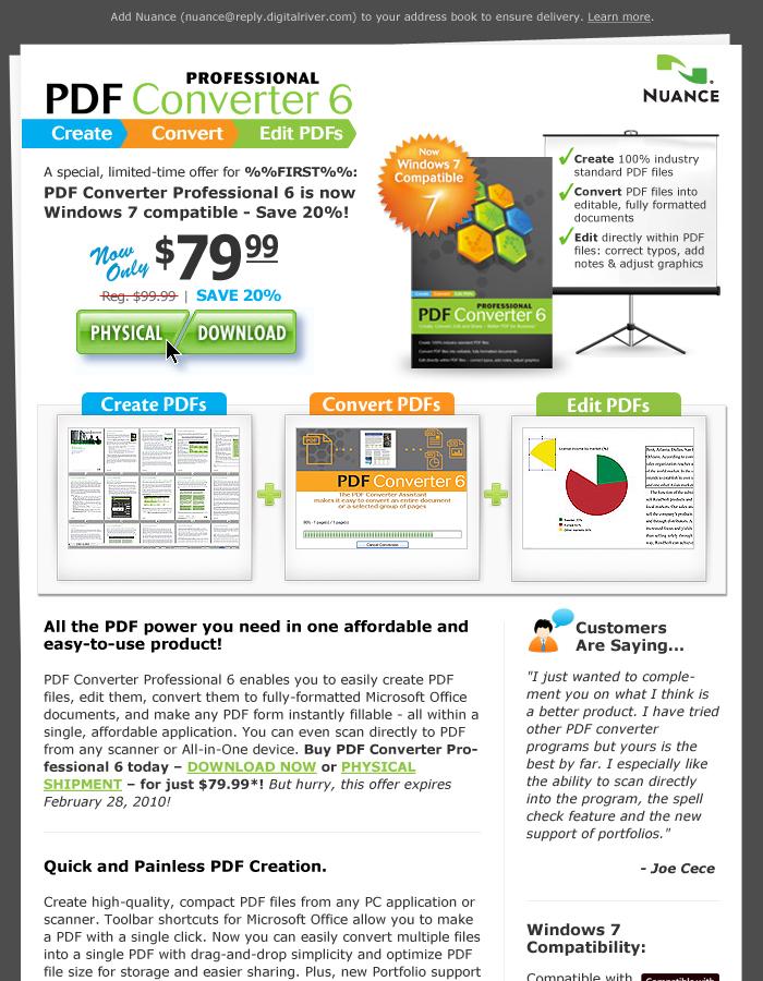 Nuance PDF Converter Email Campaign